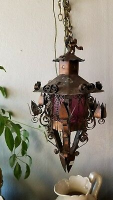 Antique Spanish Revival Iron & Tin Hanging Pendant Light  Chandelier Red Glow