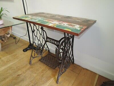 Industrial Singer Rustic Reclaimed Hardwood Dining/console Table 92Cm X 49Cm