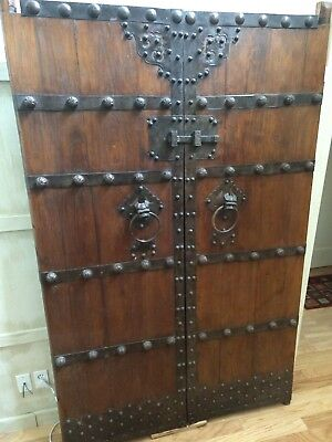 Pair of Antique Chinese Temple Garden Gate Doors Elm Metal