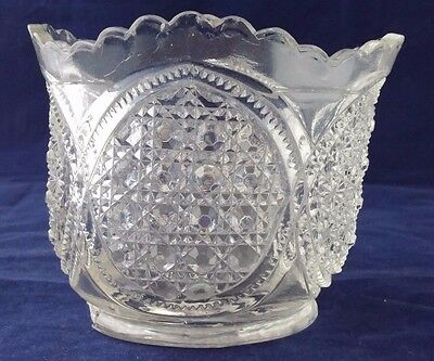 "Vintage Clear Pressed Glass Sugar Bowl No Lid 3.5 inches tall x 4-1/4"" wide"