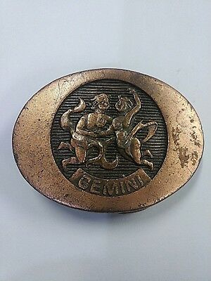 1976 Indiana Metal Craft Belt Buckle Gemini Zodiac Vintage