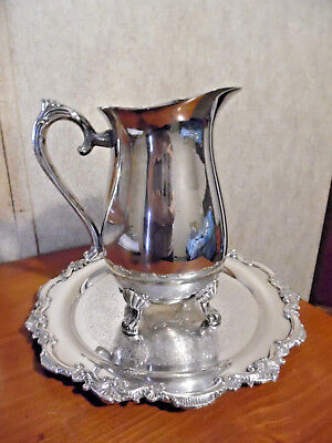 Silverplated Pitcher With Ornate Tray Wilcox