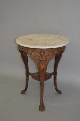 Antique English Cast Iron garden table with white marble top,