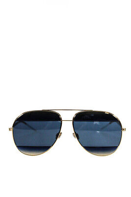 55f220795895 Christian Dior Womens 2JYKU Split 1 Gold Tone Blue Metal Aviator Sunglasses
