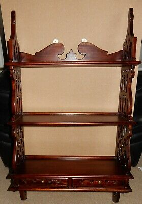 Vintage Mahogany Fretwork Waterfall Wall Mounted Book Shelf with Two Draws