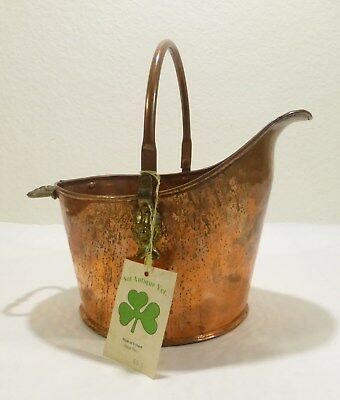Vintage Copper and Brass Coal Scuttle Not Antique Yet Made In Ireland