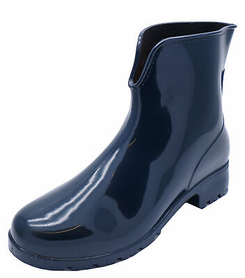 Womens Navy Ankle Garden Wellies Wellington Walking Rain Boots Shoes Sizes 3-8