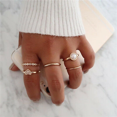 Fashion Women 5pcs Pearl Heart Joint Knuckle Stacking Finger Middle Ring set