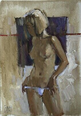 Woman nude girl study by artist Sergey AVDEEV RUSSIAN Original oil Painting