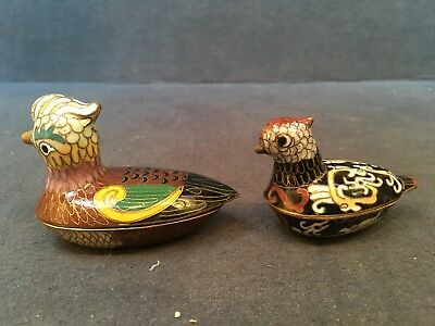 Pair CHINESE CLOISONNE Ducks Enameled Brass Statue Box Container Trinket Dish
