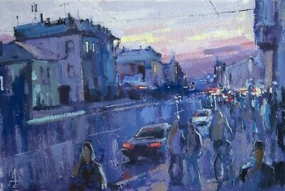 Evening Avenue city cityscape by S.  AVDEEV Original RUSSIAN oil Painting