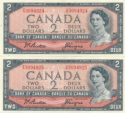 Bank Of Canada Lot Of 2 In A Row Z/B Beattie-Coyne 2 Dollars 1954 Notes - Au+