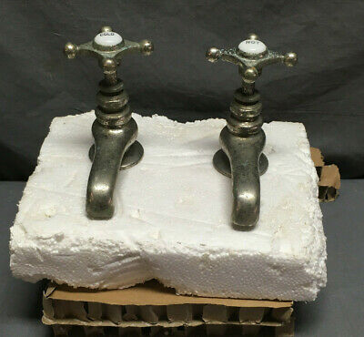 Antique Pair Nickel Brass Separate Hot Cold Sink Faucets Haydenville 12-19Lr