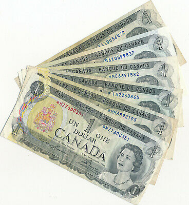 Bank Of Canada Lot Of 6 Diff Replacement 1 Dollar 1973 Notes