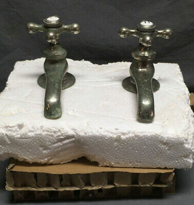 Antique Pair Nickel Brass Separate Hot Cold Faucets Standard Vtg 13-19L