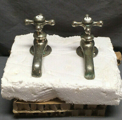 Antique Pair Nickel Brass Separate Hot Cold Faucets Standard Vtg 14-19L