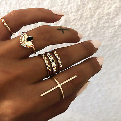 Bohemian 6 Pcs Ring Set for Women Chic Cross and Gems Rings Woman Gifts D