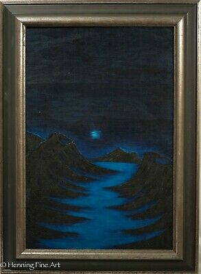 Vintage Oil Painting on Canvas by Kaneen, Midnight Landscape 1967, Framed 1 of 2