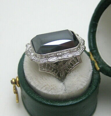 Antique Art Deco White Filigree Faceted Hematite Sterling Ring Size 3.75