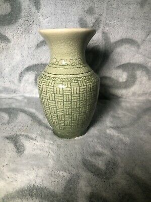 Vintage Thai Celadon Glazed Crackle Green Patterned Vase Ornament