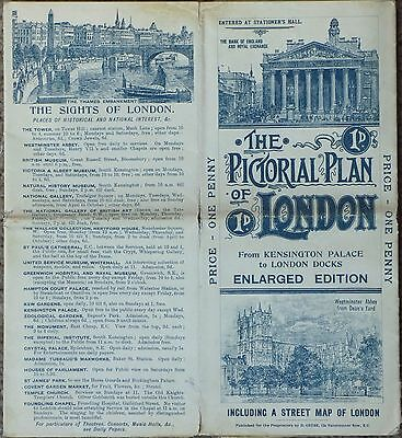 The Pictorial Plan of London - Enlarged Edition, 1897, litography, RARE