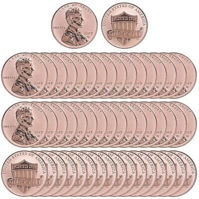 2019 W Lincoln Shield Cent Gem DCam Reverse Proof 50 Coin Roll Penny