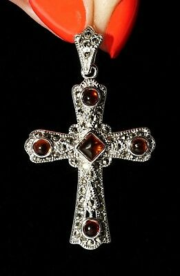 Russian Greek Orthodox Amber Marcasite 925 Silver Cross Byzantine Style