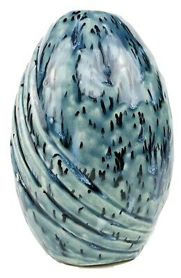 "Handmade Blue Glazed Art Pottery Vase 8"" Tall Ceramic Jar - Excellent Condition"