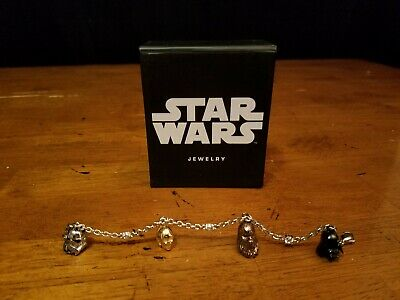 Star Wars Stainless Steel 4 Character Charm Bracelet / C-3Po Chewy Darth Vader