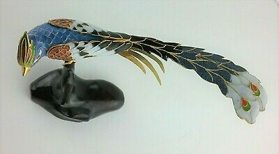 Cloisonné Enamel Phoenix Bird Figurine on Carved Perch Vintage