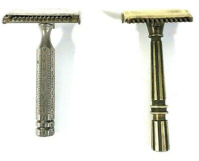 Lot of 2 Vintage Single Edge Safty Razors 1 Brass Gem, 1 Ever Ready Made in USA