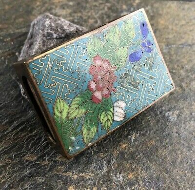 Early 20th century Vintage Or Antique Chinese Cloisonne Match Box Cover Floral