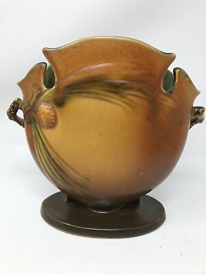 Roseville Pottery Pinecone Brown Vase 845-8