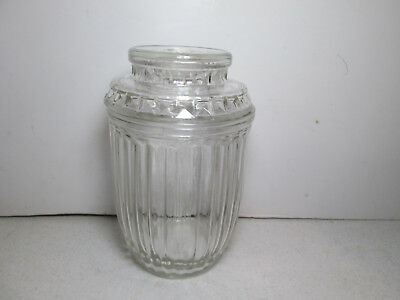 Vtg Anchor Hocking Ribbed Optic Prism Glass Apothecary Jar Starburst Lid