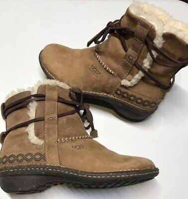 9269e48e538 UGG WOMENS COVE 7 (38) Brown Leather Shearling ANKLE BOOTS Winter ...