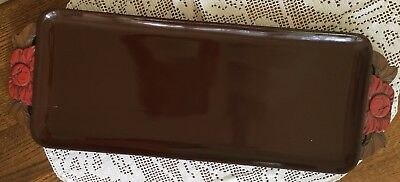 """Antique Ebony Tray Lacquered and Carved Out Handles 24"""" x 8.6"""""""