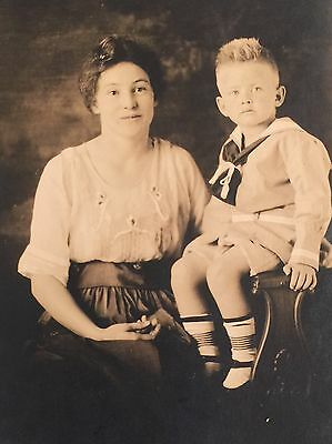 Vintage Photograph Postcard Bit With Bright Eyes And Mother Pose 1920s