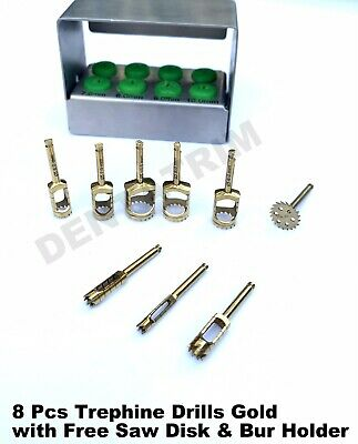 Dental Trephine Implant Drills Kit 8 Pcs Golden With Free SAW DISK & Holder CE