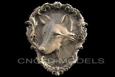 3D STL Models for CNC Router Carving Artcam Aspire Wolf Animal Face H314