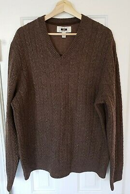 bd546032c6f90 Joseph Abboud Mens Sweater XL Wool Blend Brown Cable Knit V-Neck Pullover
