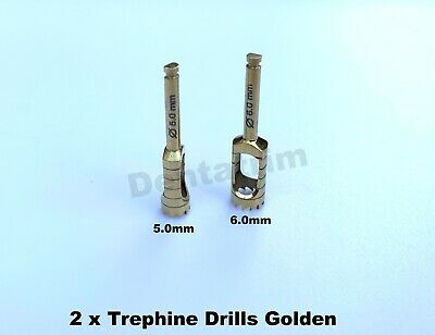 2 x Trephine Drills For Dental Implant Surgical Tools 5.0mm & 6.0mm CE NEW
