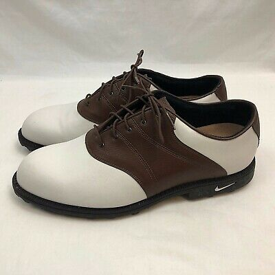 acd5d5833adc8 Nike Golf Shoes Mens US 11 Medium White Brown Leather Soft Spikes Kempshall  Last