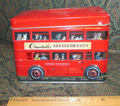 DoubleDecker London Transport Bus-Shaped Tin BANK Churchill's Confectionery