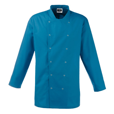 Simon Jersey Teal Blue Long Sleeve Chefs Jacket Cj037 Stud Front Chef Catering