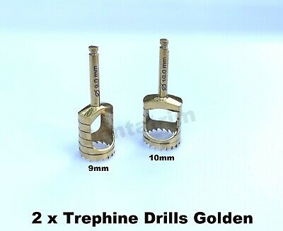 2 x Trephine Drills For Dental Implant Surgical Tools 9.0mm & 10 mm CE NEW