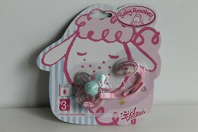 New Zapf Creations Baby Annabell Dummy With Clip 116715 (Green & Pink)
