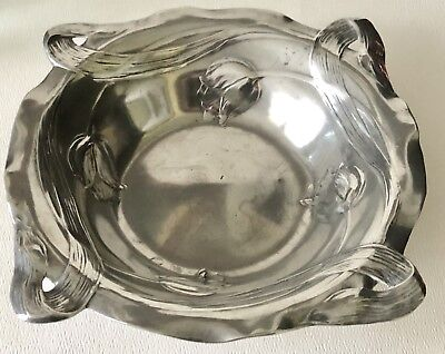 Antique Kayserzinn Art Nouveau Flowing Tulip Flower Pewter Bowl