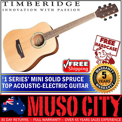 New Timberidge Mini Travel Solid Spruce Top Acoustic-Electric Guitar with Case