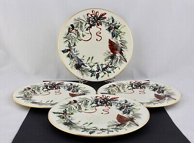 "Set Of 4 Lenox Winter Greetings 8"" Salad Plates - Mint"