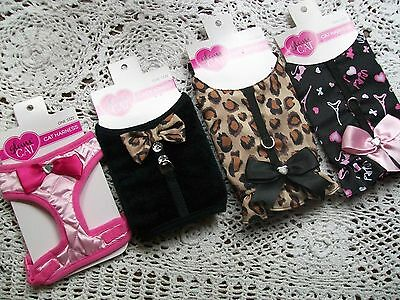Glam CAT HARNESS kitten kitty Petco Small Dog no choke pink leopard tux holster